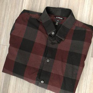Express Slim Plaid Print Cotton Shirt